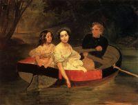 Портрет автора и баронессы Е.Н.Меллер-Закомельской с девочкой, в лодке.