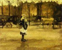 Девочка на улице и две повозки на заднем плане