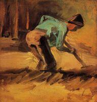 Человек с палкой или лопатой, нагнувшийся