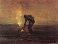 Крестьянин сжигающий сорняки