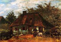 Изба и женщина с козой