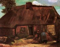 Изба и копающая крестьянка