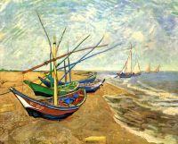 Рыбацкие лодки на берегу в Сен-Мари