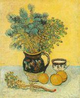 Натюрморт: кувшин в стиле Майолика с полевыми цветами