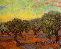 Оливковая роща и оранжевое небо