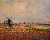 Поля цветов и ветряные мельницы вблизи Лейдена