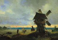 Ветряная мельница на берегу моря
