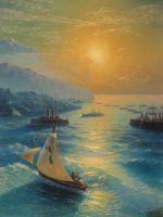 Корабли на Феодосийском рейде. Чествование Айвазовского по случаю его 80-летия