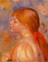 Девушка с красной лентой для волос