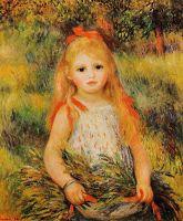 Маленькая девочка с ветками цветов