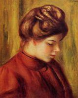 Профиль женщиной в красной блузке