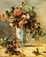 Жасмин и розы в фаянсовой вазе