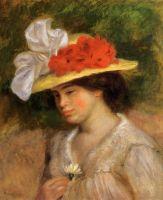 Женщина в шляпке, украшенной цветами