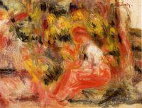 Девочка, сидящая в саду