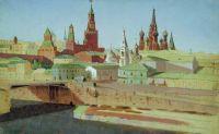 Вид на Москворецкий мост, Кремль и храм Василия Блаженного.