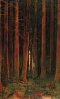 Закат с деревьями.