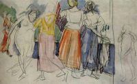 Эскиз к картине Девушки на Волге.