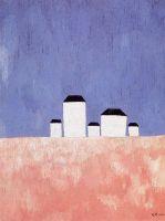 Пейзаж с пятью домами