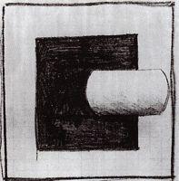 Черный квадрат и белая трубчатая форма