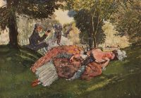 Заснувшая на траве молодая женщина