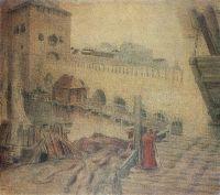 Троицкий мост у башни Кутафьи и подъемный мост