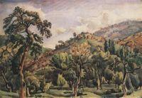 Горный пейзаж с деревьями. Орталаны