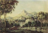 Пейзаж с водопадом и мостом
