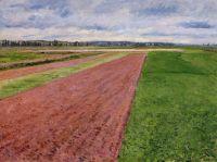 Пейзаж, этюд в желтом и розовом