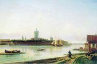 Вид Смольного монастыря с Большой Охты. Начало 1870-х