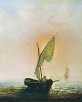 Закат (Лодка с парусом у берега моря)