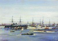 Фрегат Александр Невский и другие корабли под командованием контр-адмирала Лесовского на пути в Америку во время войны 1863–1865 годов
