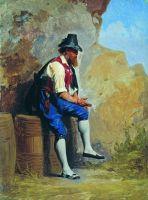 Итальянский крестьянин на бочке. Конец XIX века