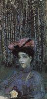 Портрет Н.И.Забелы-Врубель на фоне березок