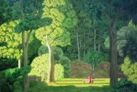 Пейзаж с женской фигурой в красном
