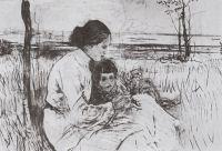 Дети художника. Ольга и Антоша Серовы.