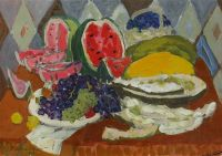 Натюрморт с фруктами и арбузом.