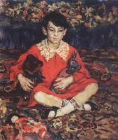 Портрет девочки, сидящей на пестром ковре с игрушками.