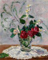 Натюрморт с розами, жасмином и аспарагусом.