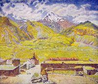 1920-е Грузия. Казбек (днем). Военно-Грузинская дорога. Гора и аул.