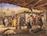 Молебен на крестьянском дворе в Малороссии. 1886