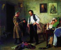 Художник, продающий старые вещи татарину (Мастерская художника). 1865