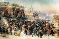 Народное гулянье во время масленицы на Адмиралтейской площади в Петербурге2. 1869