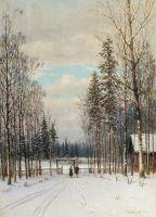 Зима. У околицы. 1883 Холст, масло. 31 x 22  ЧС