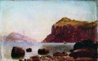 Морской берег с парусником. Дерево, масло. 25.3 x 38 ЧС