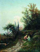 Деревенский пейзаж с детьми