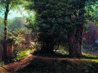 Пейзаж с деревьями, домами и рекой. 1878