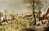 Зимний пейзаж с катающимися на коньках и птицами