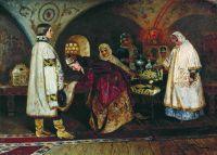 Первая встреча царя Алексея Михайловича с боярышнею Марией Ильиничной Милославской (Выбор царской невесты). 1887
