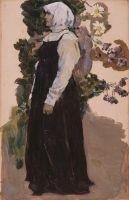 Девушка в черном сарафане. 1910-1916