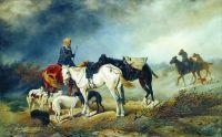 Охотники в степи. 1873